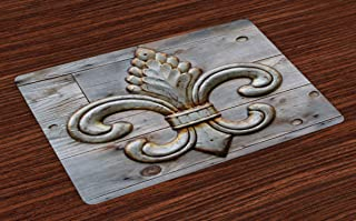 Ambesonne Fleur De Lis Place Mats Set of 4, Lily on Weathered Old Wooden Planks Historical Theme Image, Washable Fabric Placemats for Dining Room Kitchen Table Decor, Charcoal