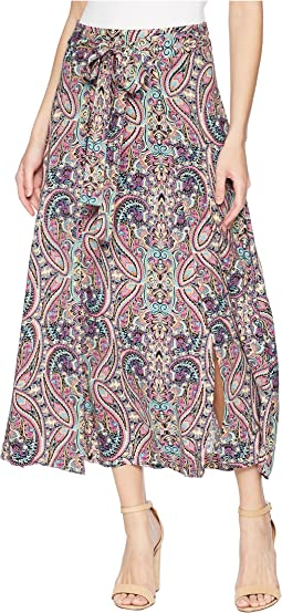 "Printed 36"" Maxi Skirt with Front Panel Slits"