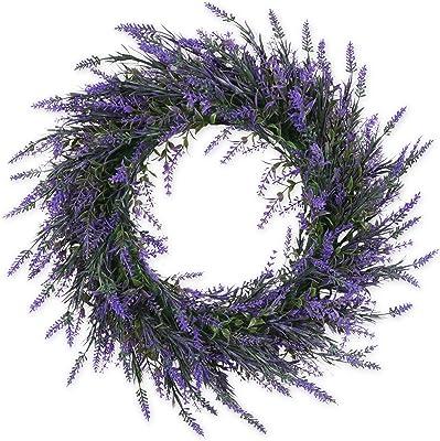 Homcomoda Artificial Lavender Flower Wreath 16 Inch Front Door Wreath Green Leaves Boxwood Wreath with Lavender Arrangements Wall Home DIY Floor Garden Office Wedding Decor