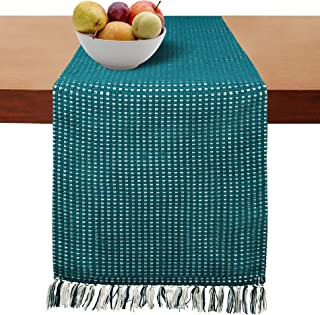 Cotton Clinic Table Runner Farmhouse Vintage 72 Inch, 14x72 Basket Weave Wedding Table Runner, Rustic Bridal Shower Decor Dining Table Runner Teal Green