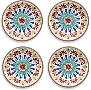 Tarhong Melamine Dinnerware Salad Plates - Set of 4 - Choose from Colorful Moroccan/South American/Atlantic Patterns - 10...