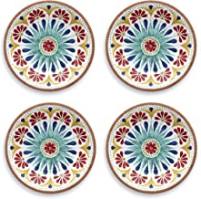 Tarhong Melamine Dinnerware Salad Plates - Set of 4 - Choose from Colorful Moroccan/South American/Atlantic Patterns - 100...