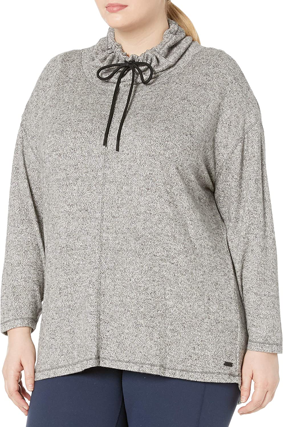 Marc New York Performance Women's Plus Size Hachi Cowl Neck Pullover with Adjustable Drawstrings