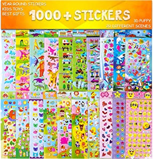 RENOOK Stickers 1000 + and 20 Different Scenes, 3D Puffy Stickers, Year-Round Sticker Bulk Pack for Teachers School, Students, Toddlers, Scrapbooking, Girl Boy Birthday, Including Cars and More.