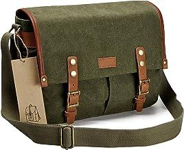 ZLYC Unisex RetroEchtleder und Segeltuch Canvas Kameratasche Messenger Bag Büchertasche für DSLR-Kamera und Linse Grün