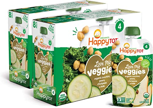 Happy Tot Organic Stage 4 Baby Food Love My Veggies Zucchini/Pear/Chickpeas & Kale, 4.2 Ounce Pouch (Pack of 16) (Pac...