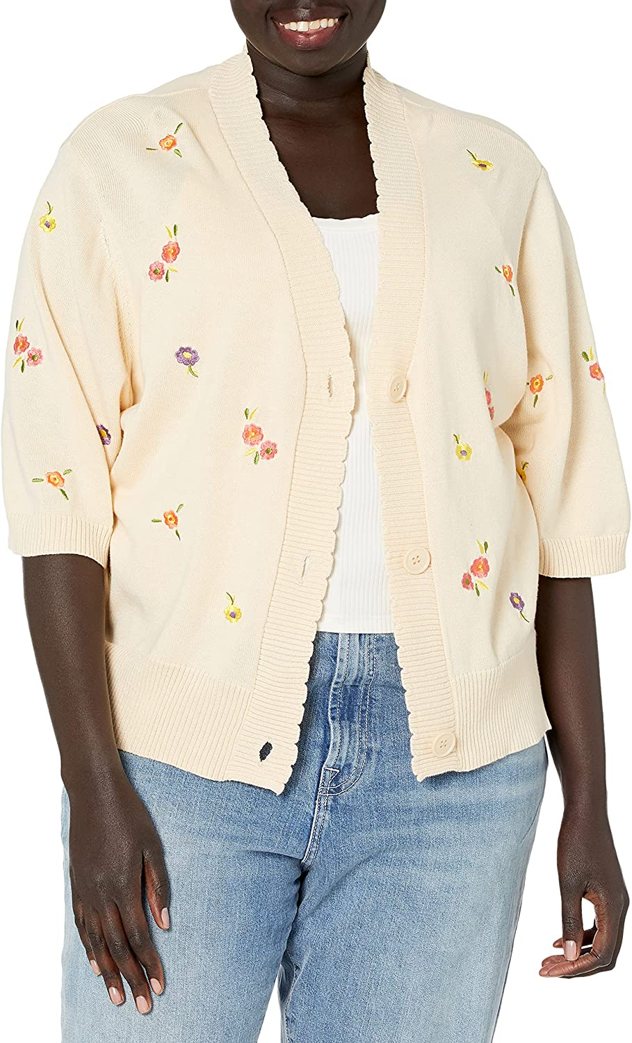 KENDALL + KYLIE Women's Mini Floral Embroidered Cardigan
