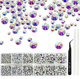 Outuxed 5040pcs Crystal AB Hotfix Rhinestones 6 Mixed Size 2-6.5mm Flatback Round Glass Gems Crystal with Tweezers and Picking Rhinestones Pen for DIY Craft