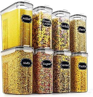Wildone Lot de 8 récipients hermétiques pour céréales et aliments secs - capacité de 2,5 L pour sucre, farine, etc - couve...