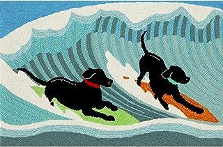 Liora Manne 1473/04 Front Porch Coastal Summer Surfing Dogs Ocean Indoor/Outdoor Rug, 20