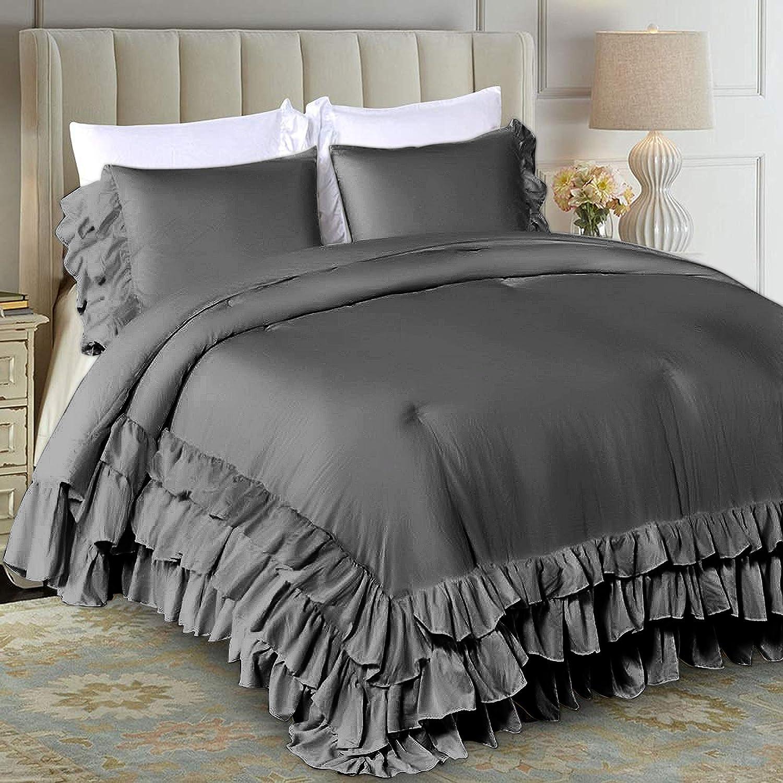 Ranking TOP5 World Bedding Ruffled Comforter 600 Egyptian Qu Hotel GSM Cotton Free shipping
