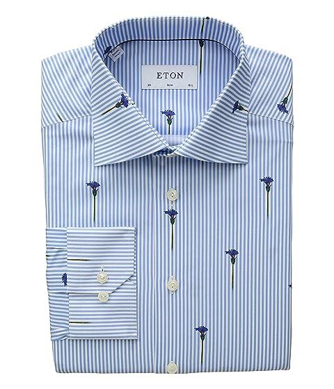 Eton Slim Fit Stripe Flower Detail Shirt