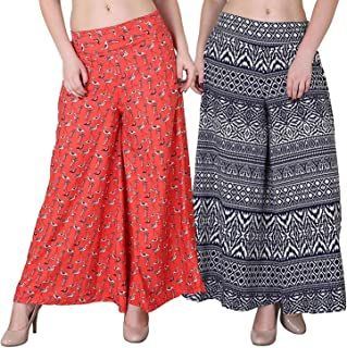 Fablab Women's/Girl's Printed Crepe A-Line wide leg divider Palazzo Trousers with Pocket & Inner Lining Combo Pack of 2(FLPLCRP2-25,Duck Print,Blue Print,Size-XXL)