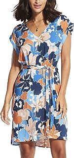 SEAFOLLY Women's Printed Swimwear Cover Up Dress with Drawstring Waist, Sun Dancer Marina Blue, M