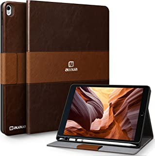 AUAUA iPad Pro 10.5 / iPad Air 3 Case with Built-in Apple Pencil Holder Two-Color Stitching Auto Sleep/Wake Function PU Leather Smart Cover for iPad Air 3 10.5 Inch 2019/iPad Pro 10.5 2017 (Brown-2)
