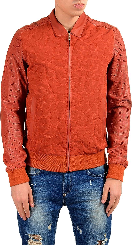 Just Cavalli Men's Leather Brick Red Full Zip Bomber Jacket US S IT 48