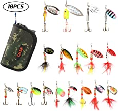 RUNCL Fishing Spinners, Minnow/Dressed Spinners, 10/18pcs Hard Metal Spinners - Hand-Tied Hackle Tail, Shaft-Through-Blade Design, Treble Hooks, Proven Patterns, Carry Box/Pouch - Trout Lures