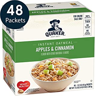 Quaker Instant Oatmeal, Apples & Cinnamon, Individual Packets, 48 Count per box, 72.8 Oz