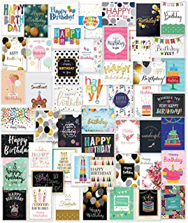 $21 » 50 Unique Happy Birthday Cards Assortment with 25 White and 25 Brown Envelopes, Stickers and Generic Birthday Greeting Ins...