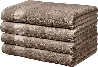 AmazonBasics Everyday Bath Towels, Set of 4, Taupe, 100% Soft Cotton, Durable