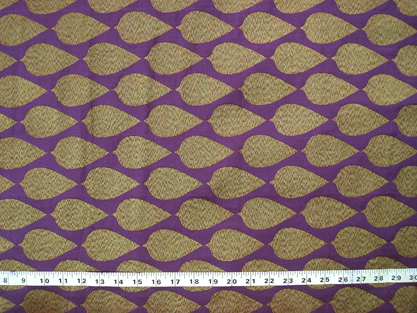 Purple Decorative Brocade Fabric by The Yard, 44 Inches Gold Leaf Motif Graced Indian Fabric Dress Making Fabric