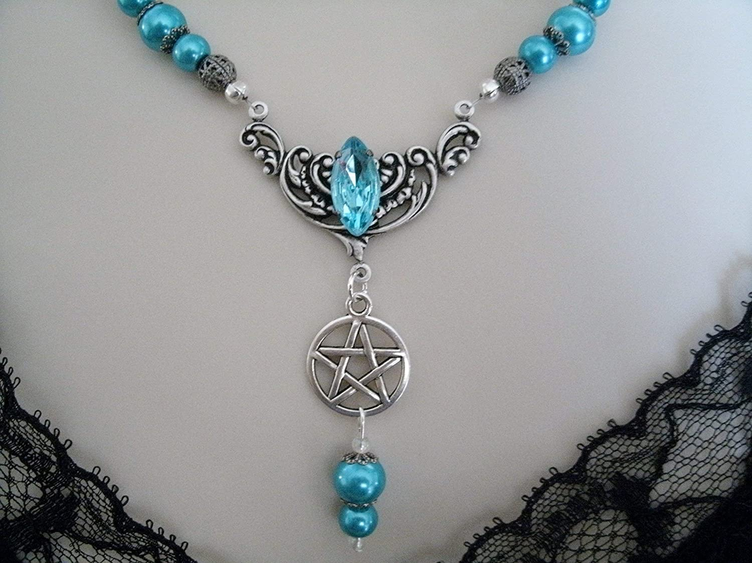 Sapphire Blue Pentacle Soldering Necklace pagan handmade Low price wiccan jewelry