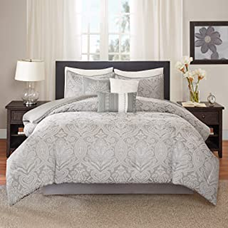 Madison Park Averly 7 Piece Comforter Set, Grey, Queen, (90