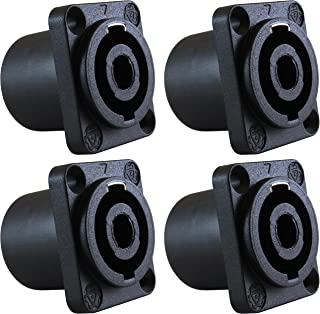 GLS Audio Speaker Jack Twist Lock 4 Pole Square (Rectangle) - Compatible with Neutrik Speakon NL4MP, NL4MPR, NL4FC, NL4FX,...
