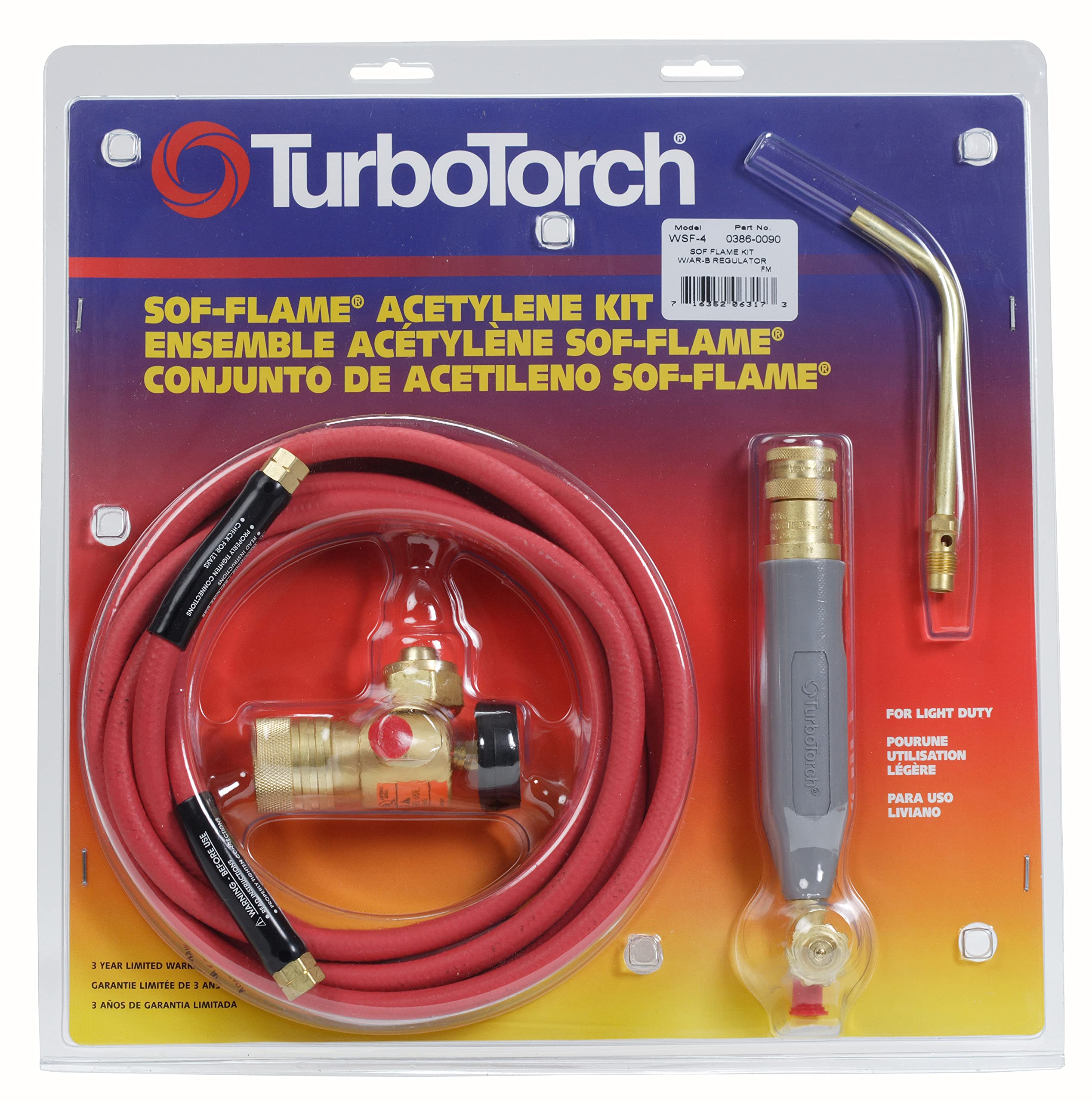 TurboTorch 0386-0090 WSF-4 Torch Kit Sof-Flame, for B tank, Air Acetylene