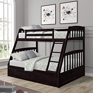 Twin-Over-Full Bunk Bed, Solid Wood Bed Frame with Ladders and Storage Drawers, Espresso