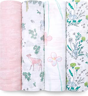 aden + anais Swaddle Blanket   Boutique Muslin Blankets for Girls & Boys   Baby Receiving Swaddles   Ideal Newborn & Infant Swaddling Set   Perfect Shower Gifts, 4 Pack, Forest Fantasy