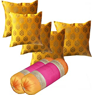 PINK PARROT Set Of 2 Pieces 30X16 Inches/74X40 Cm Silk Bolster Cover And 5 Pcs 16X16 Inch Cushion Covers With Zipper