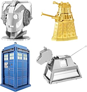 Fascinations Metal Earth 3D Metal Model Kits - Dr Who Set of 4 - Tardis, Dalek, Cyberman Head, K-9