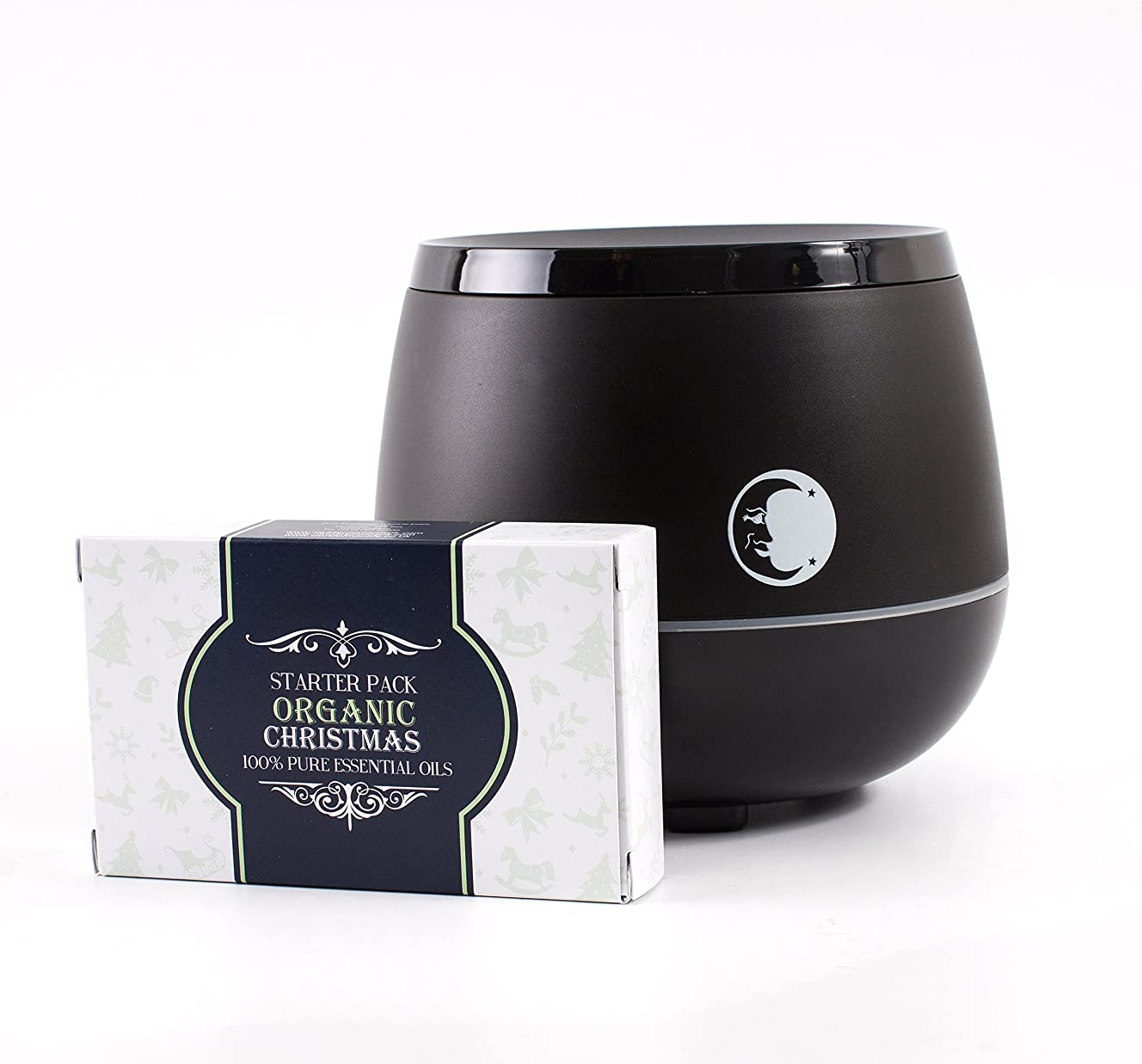 飲み込む協同罰Mystic Moments | Black Aromatherapy Oil Ultrasonic Diffuser With Bluetooth Speaker & LED Lights + Organic Christmas Essential Oil Gift Starter Pack