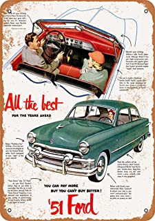 Wall-Color 7 x 10 Metal Sign - 1951 Ford Automobiles - Vintage Look
