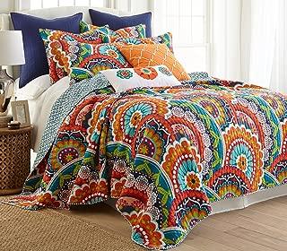 Levtex Serendipity Full/Queen Cotton Quilt Set Orange, Navy Multicolored