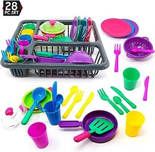 Big Mo's Toys Pretend Play Dishes - Set de chef pequeño, platos para servir para niños, vasos de juego, cubiertos, escalera, vajilla, ollas y escurridor de platos, juego de 28