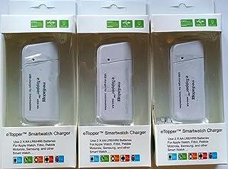 智能手表充电器 - 便携 2 x AA USB 充电器内置灯(3 件装) 白色