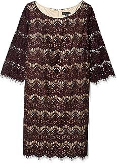 Jessica Howard Womens JH6W8390 Plus Size 3/4 Sleeve Lace Shift Dress Three-Quarter-Sleeve Dress - Purple