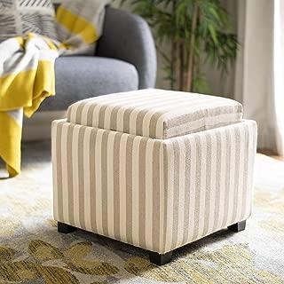 Safavieh Hudson Collection Harrison Cream & Tan Stripe Single Tray Ottoman