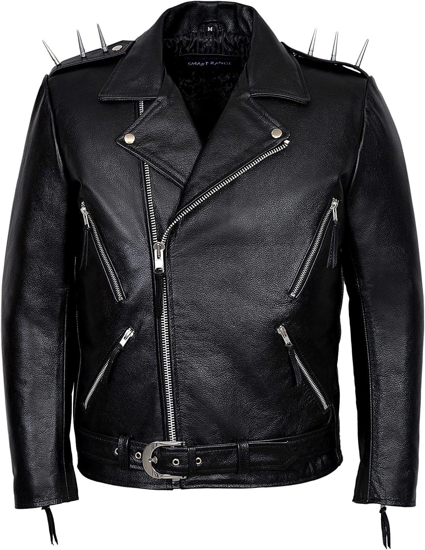 Ghost Rider' Men's Black Metal Spikes Motorcycle Cowhide Leather Jacket