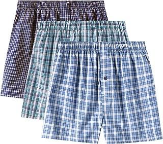 Men's Cotton Classic Woven Boxer Shorts Plaid Underwear Button Fly 3 Pack M40