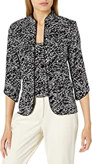 Alex Evenings Women's Mandarin Neck Twinset Tank Top and Jacket Petite Regular