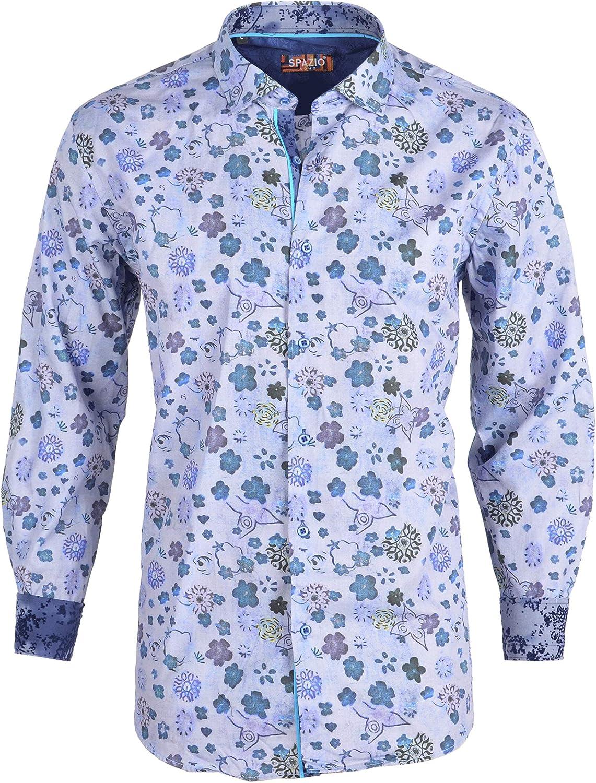 Spazio Navy Eranthe Long Sleeve Casual Button Down Men's Shirt Emporio
