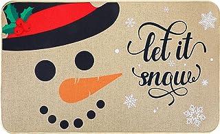 BBTO Christmas Door Mat Snowman Snowflakes Winter Doormat Non Slip Holiday Front Door Mat Washable Winter Door Mat Outdoor...