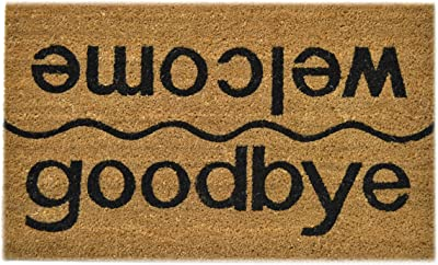 Imports Decor Vinyl Back Coir Doormat, Welcome-Goodbye, 18-Inch by 30-Inch