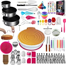 360 Pcs Cake Decorating Supplies Kit with Baking supplies-Springform Pan Set-Cake Turntable stand-55 Numbered Piping Tips ...