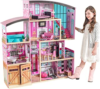 KidKraft 65949 Shimmer Mansion wooden Dollhouse with 4 levels of play and 30 accessories included