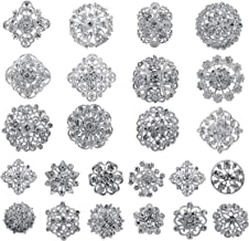 Your Perfect Gifts Lot 24pc Clear Rhinestone Crystal Flower Brooches Pins Set DIY Wedding Bouquet Brooches Kit AMBR679