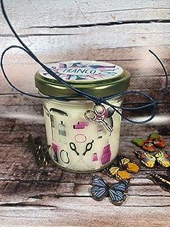 Miglior parrucchiere o parrucchiera - Vasetto con candela con disegno e ciondolo a scelta, aroma a scelta, personalizzata ...
